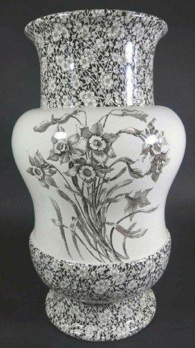 "Vase, 24"" Doulton, Burslem Transfer Printed"