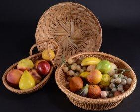 Vintage Stone Fruit & Three Baskets