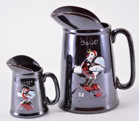 Two Vintage Bauer Embossed Rooster Pitchers