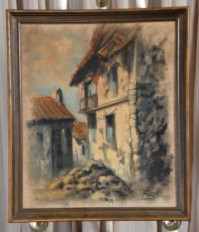 Signed Vintage Spanish Street Scene Art On Canvas