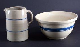 Stoneware Pitcher & Roseville Mixing Bowl