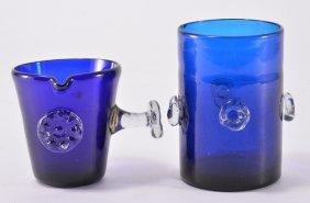 Vintage Spanish Blue Handblown Glass & Pitcher