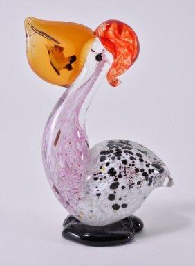 Handblown Murano Glass Art Pelican W/fish In Beak