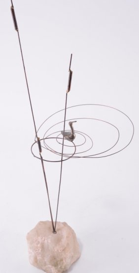Vintage Brass Wire & Stone Sculpture