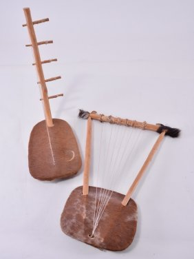 Two Vintage Hide Wood & String Instruments