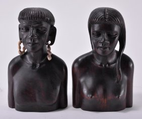 Handcarved Borneo Bust Of Man & Woman