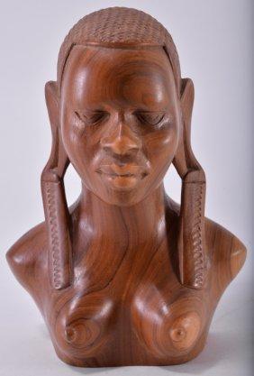 Handcarved African Maasai Wooden Bust