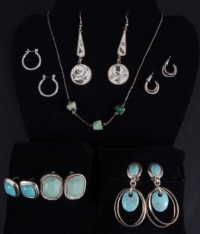 Turquoise Costume Jewelry W/sterling Earrings