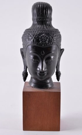 Vintage Metal Asian Female Head On Wooden Stand
