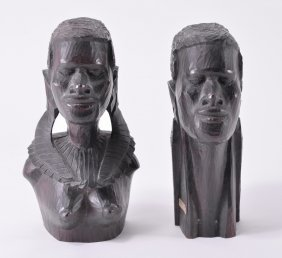 African Hand Carved Male & Female Bust