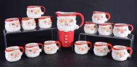 1960s H & H Japan Santa Pitcher & Mugs