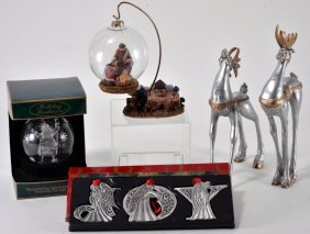 Silver & Glass Christmas Decor Lot.