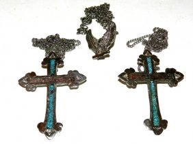 2 Indian Styled Cross Pendants & Eagle