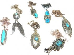 6 Native Indian Sterling Pendants
