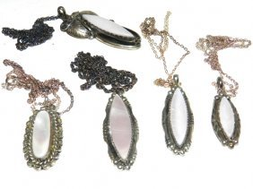 6 Native Indian Sterling & Pink Satin Pendants