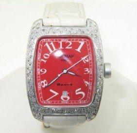 Locman Italy Aluminium Diamond, Leather Strap Watch.
