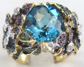 18K Gold Multi Colored Diamond Ring