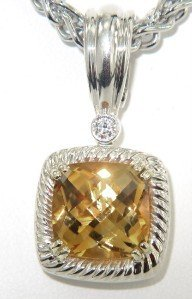 Charles Krypell Gold/Silver Citrine Diamond Necklace