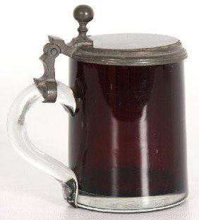 Small Cranberry Glass Stein W/ Applied Handle