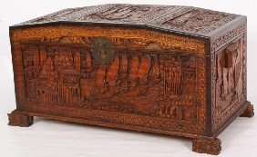 Carved Camphor Wood Lift Top Trunk W/ Brass Latch.