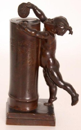 E. Barrias Frech Bronze Figural Bank E. Barrias Fr
