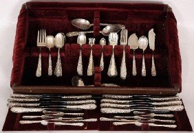 100 Pc Kirk Brentwod Pattern Silver Set 100 Pc Kir