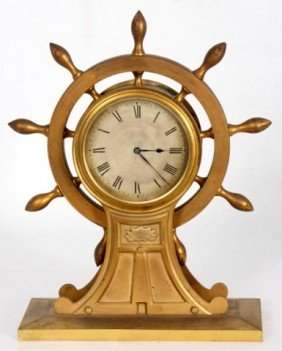 English Bronze Ships Wheel Clock