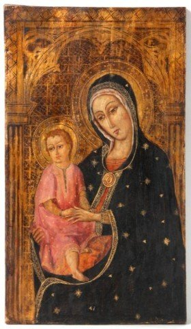 Early Hand Painted Icon On Wood Panel
