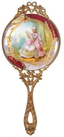 Painted Porcelain Hand Mirror