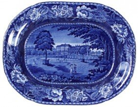 Flow Blue Staffordshire Platter - R. Hall