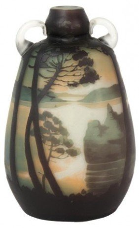 Muller 2 Handled Scenic Cameo Vase