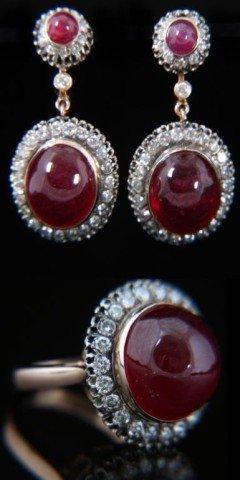 14K Russian Diamond & Ruby Earring & Ring