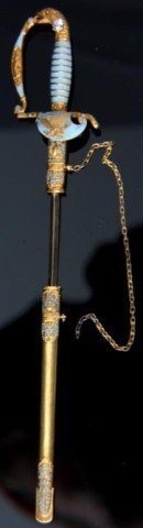 American Gold Sword Pin W/ Enamel & Diamond