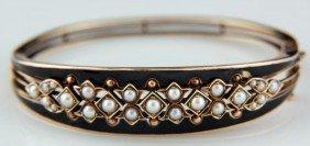 Victorian Bangle Bracelet W/ Enamel & Pearls