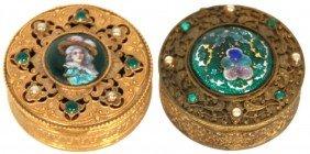 2 French Gilt & Enamel Pill Boxes
