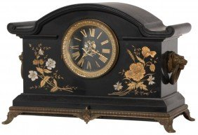 Incised Black Marble Mantle Clock
