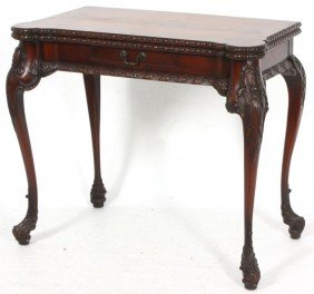 Carved Mahogany 1 Dwr Card Table
