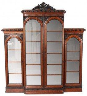 Walnut 4 Door Bookcase Attr. Henkel
