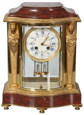 French Marble & Dore Bronze Mantle Clock