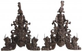 Large Pair Of Figural Bronze Chenetts