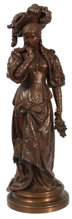 Signed J. Guillot Bronze Woman