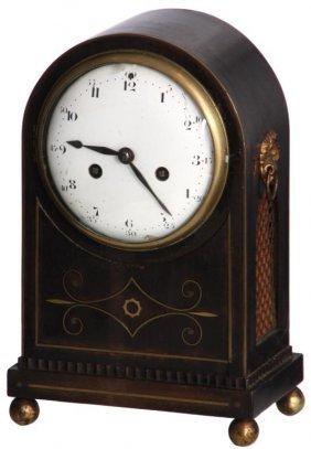 Brass Inlaid Mahogany Mantle Clock