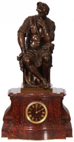 Barbedienne Marble & Bronze Mantle Clock