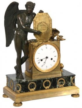French Silk Thread Bronze Mantle Clock.