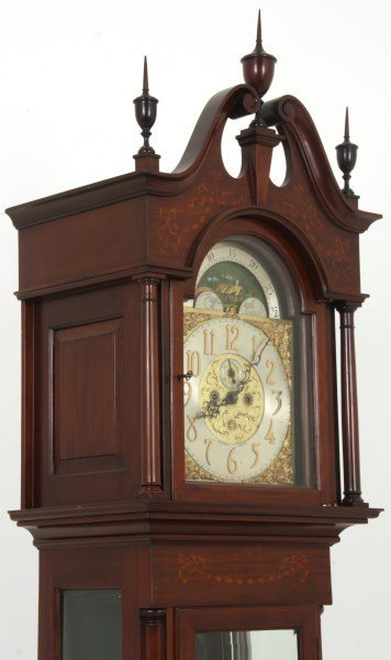 J J Elliott Inlaid Mahogany Grandfather Clock Lot 207