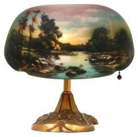 Pittsburgh Scenic Reverse Painted Desk Lamp