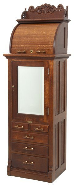 Oak Harvard Co. Roll Top Dental Cabinet