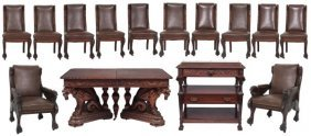 14 Pc. Griffin Carved Mahogany Dining Set