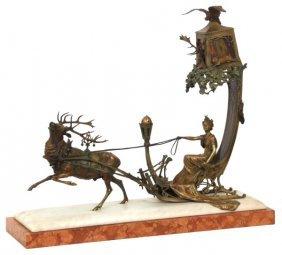 Bergman Bronze Figural Sleigh Lamp