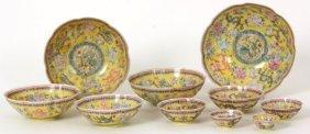 Set Of 10 Chinese Porcelain Nesting Bowls